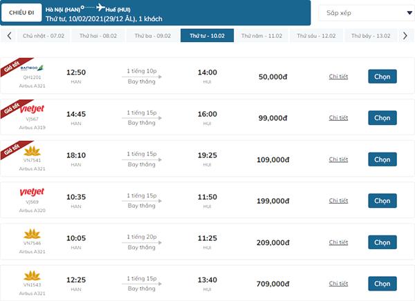 vé máy bay hà nội huế trước tết 2021 giá rẻ ngày 10/2/2021
